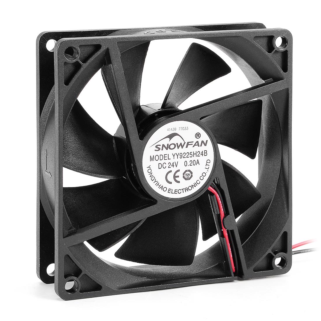92mm x 92mm x 25mm 9225 24V DC Cooling Fan w Long Life Dual Ball Bearings