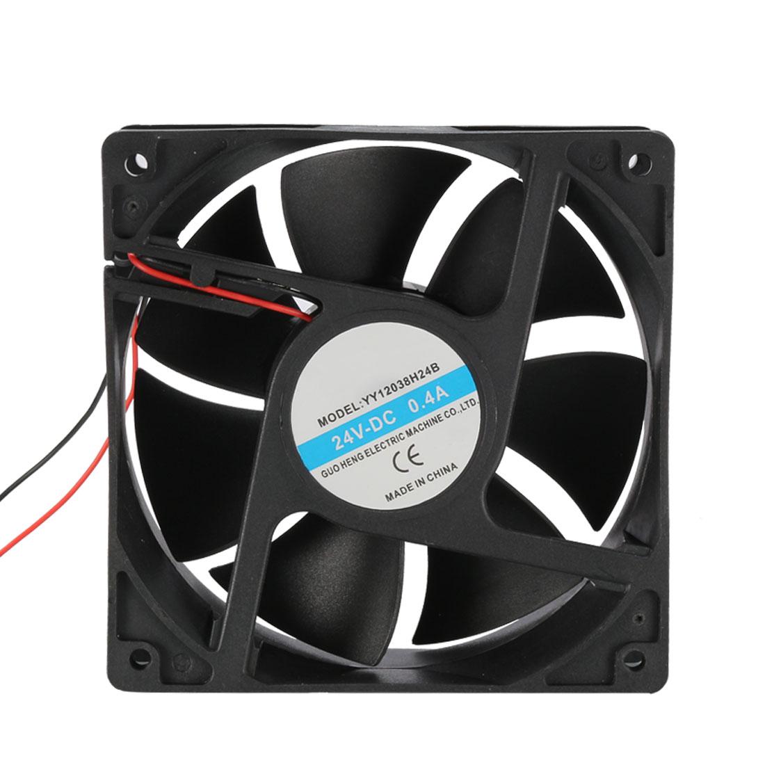 120mm x 120mm x 38mm 24V DC Cooling Fan Long Life Dual Ball Bearing PC Case Fan