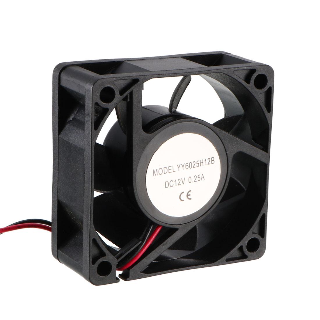 60mm x 60mm x 25mm 12V DC Cooling Fan Long Life Dual Ball Bearings PC Case Fan