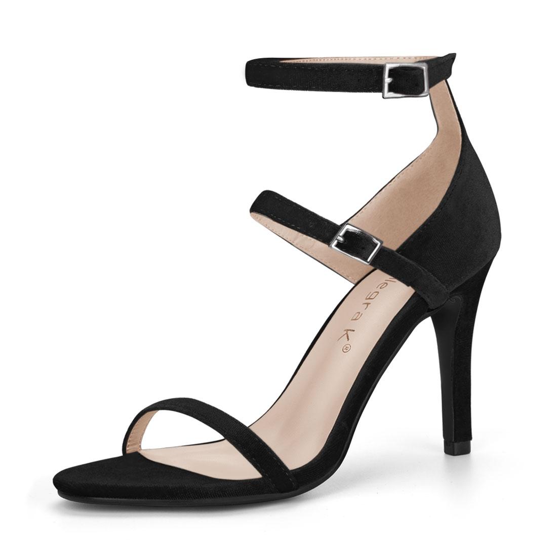Women Open Toe Double Ankle Strap Stiletto Heel Sandals Black US 7