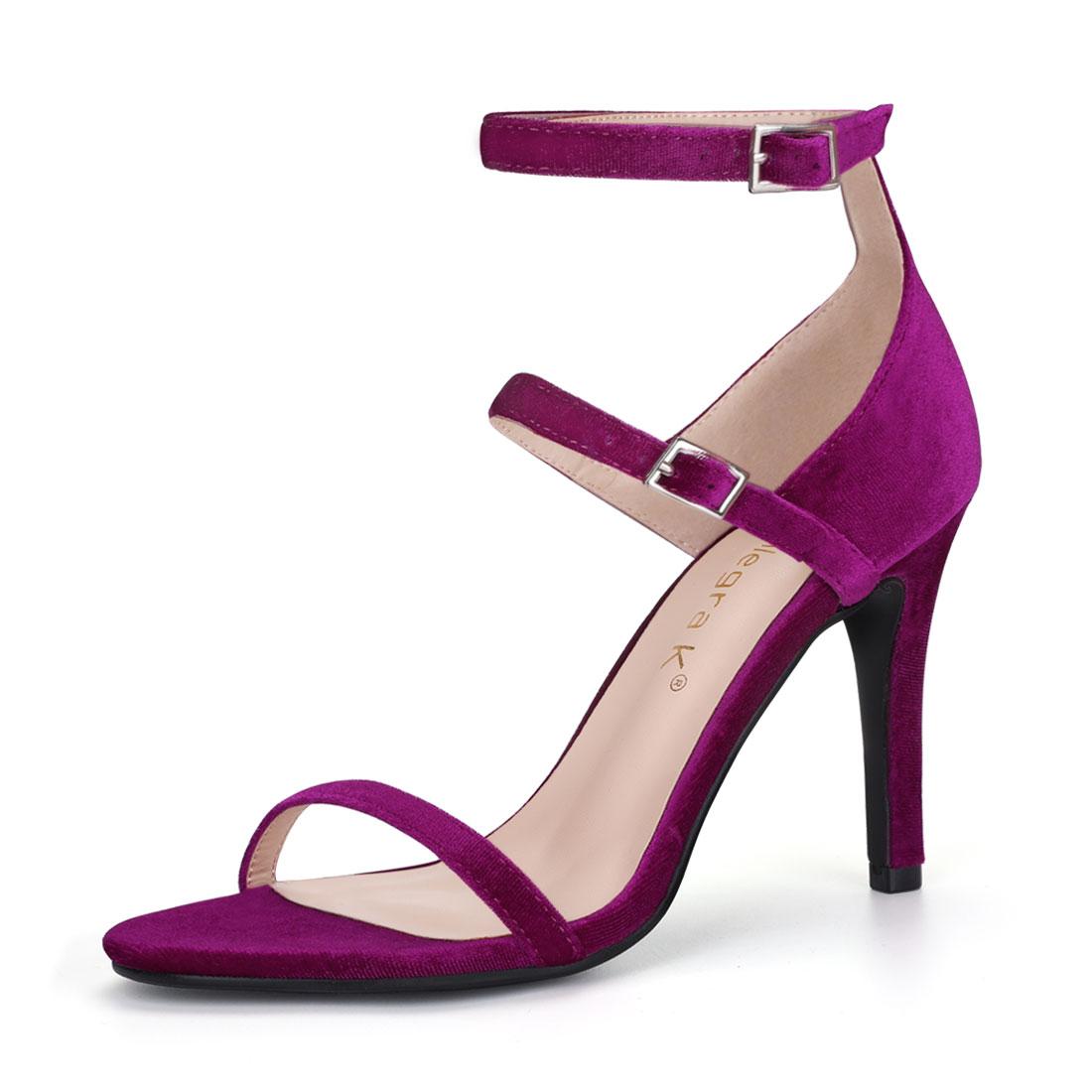 Women Open Toe Double Ankle Strap Stiletto Heel Sandals Purple US 6