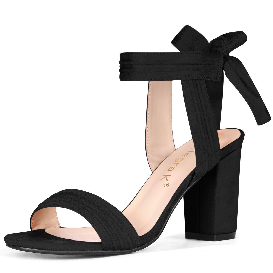 Allegra K Women's Open Toe Ankle Tie Back Chunky Heel Sandals Black US 7