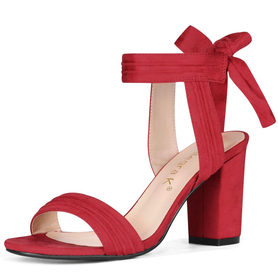 Allegra K Women's Open Toe Ankle Tie Back Chunky Heel Sandals Red US 7