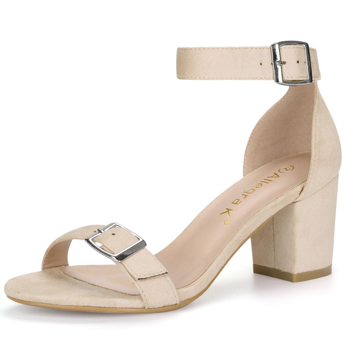 Women Open Toe Block Heel Buckle Ankle Strap Sandals Beige US 10