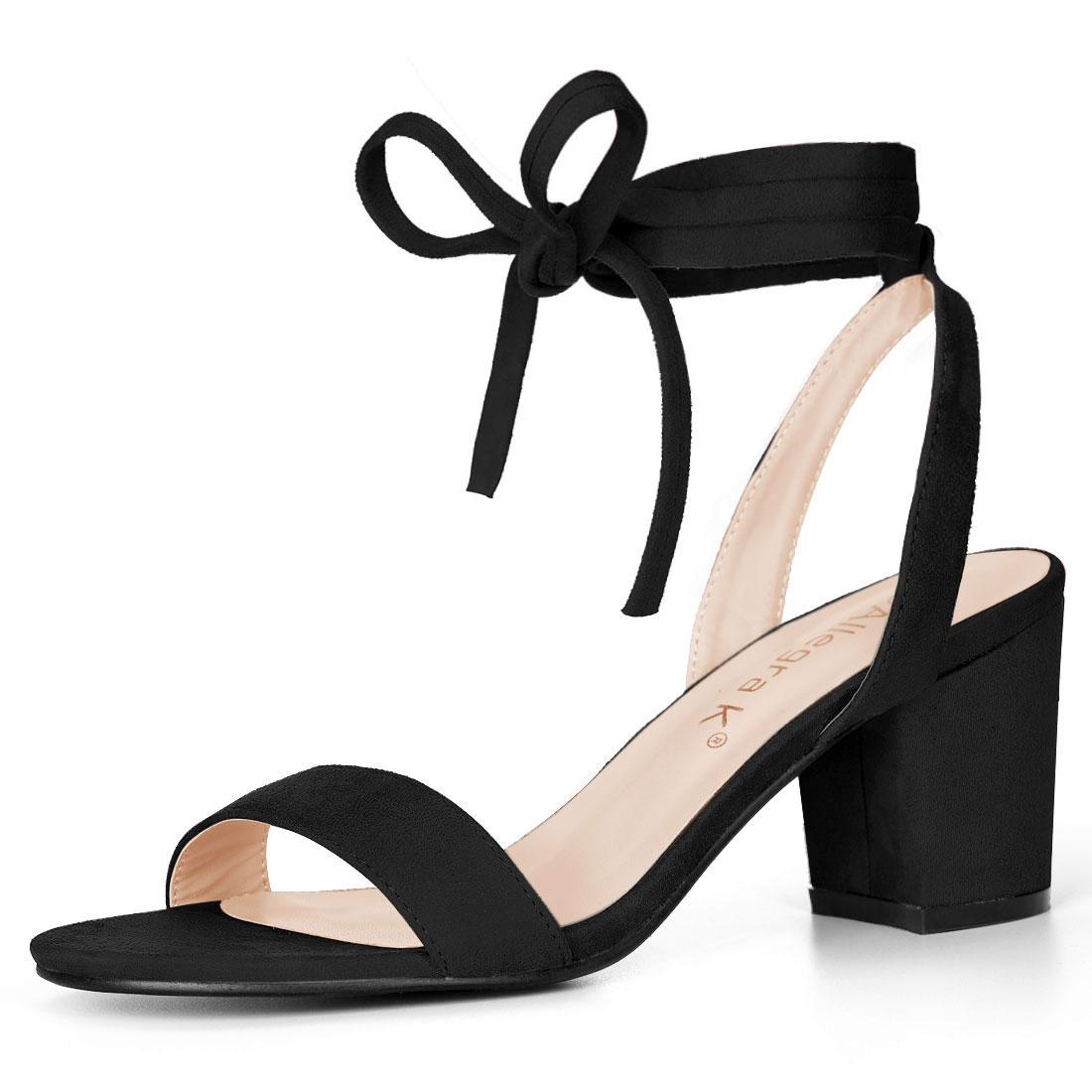 Allegra K Women's Open Toe Mid Block Heel Ankle Tie Sandals Black US 5
