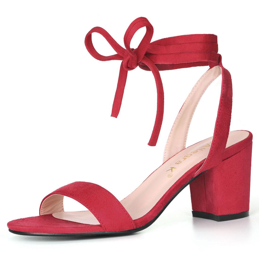 Allegra K Women's Open Toe Mid Block Heel Ankle Tie Sandals Red US 7