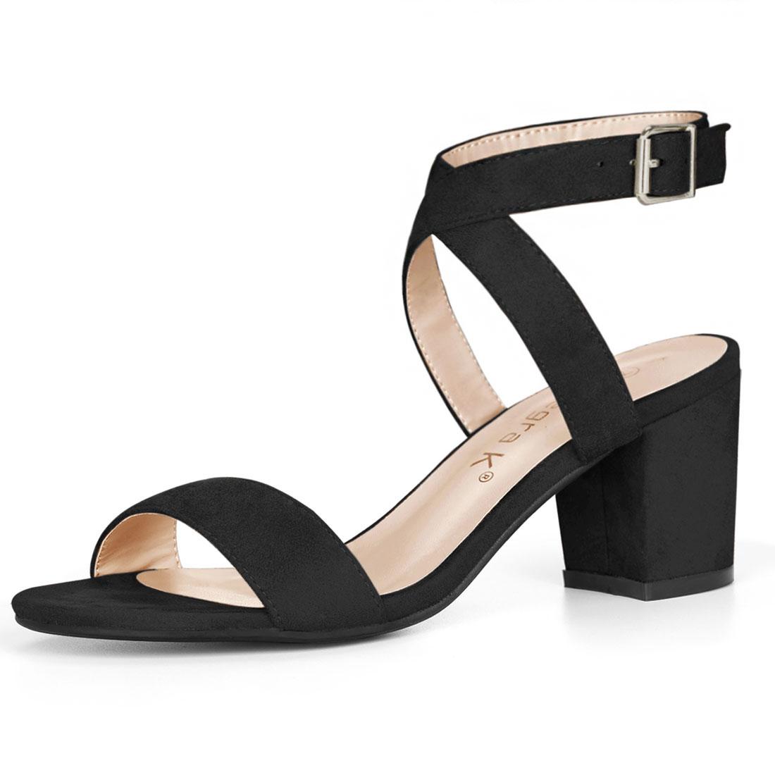 Allegra K Women's Crisscross Mid Block Heel Ankle Strap Sandals Black US 7