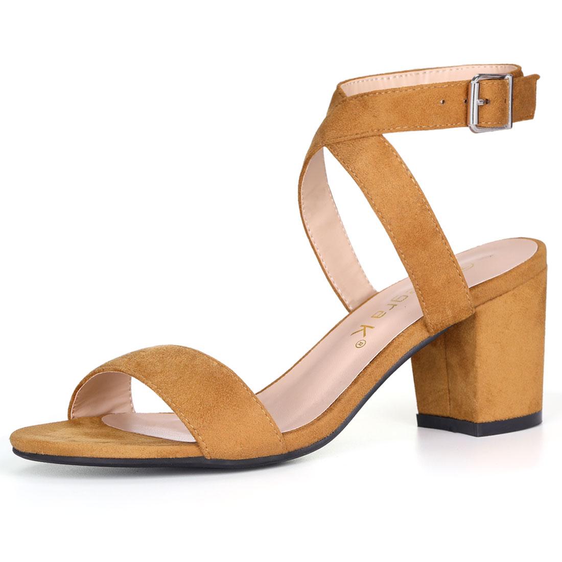 Allegra K Women's Crisscross Mid Block Heel Ankle Strap Sandals Brown US 5