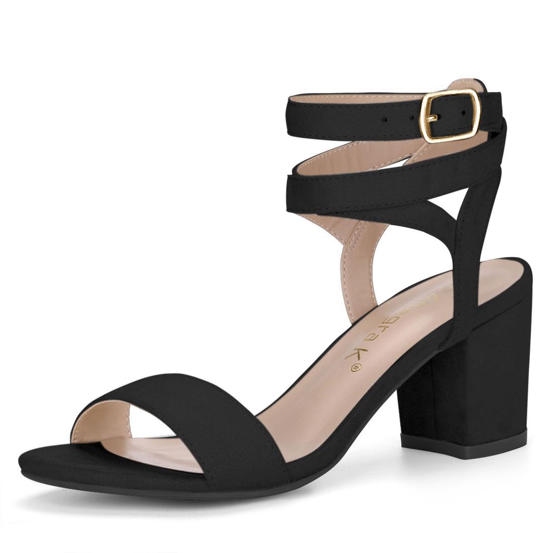 Allegra K Women's Block Heels Double Ankle Straps Sandals BlackUS 7