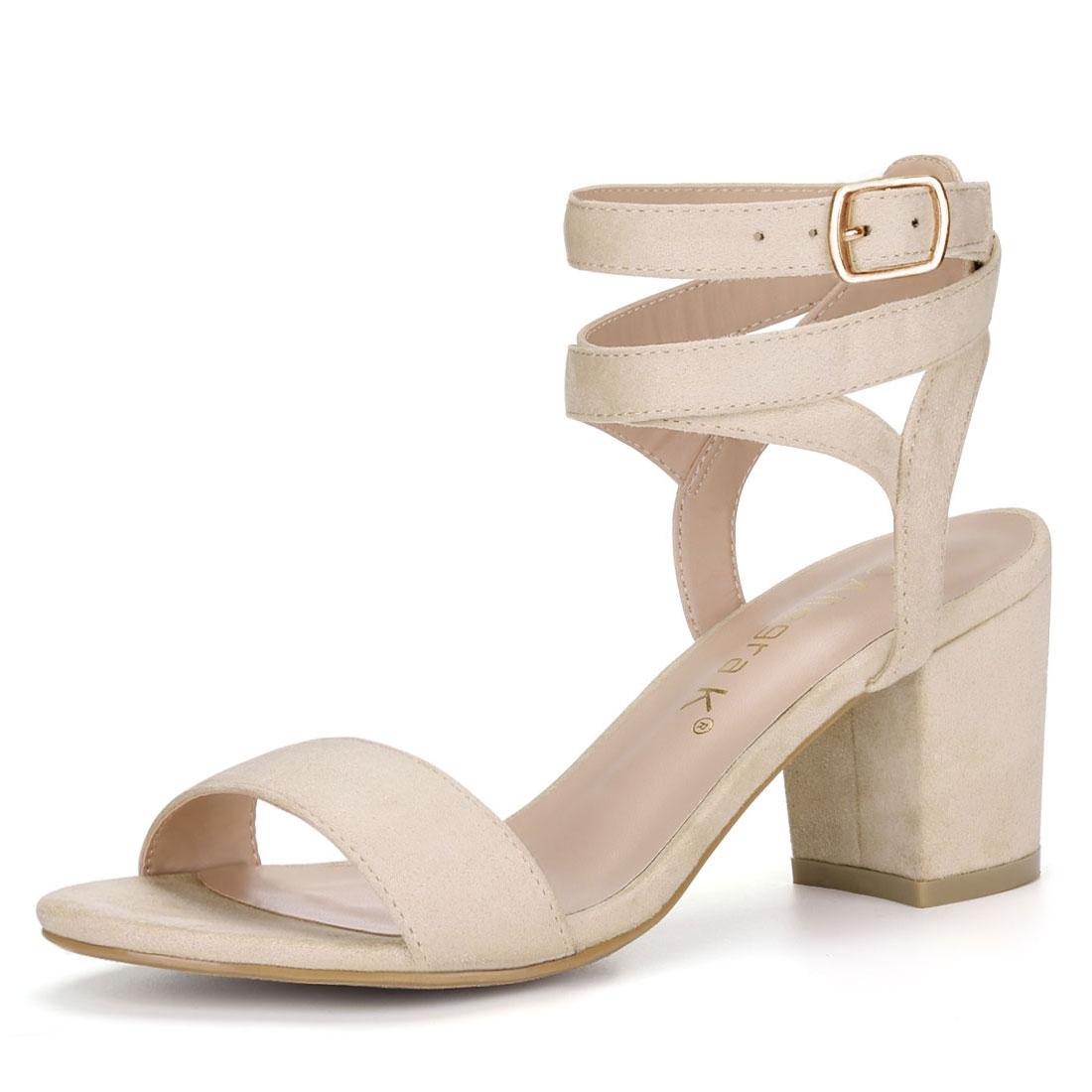 Allegra K Women's Block Heels Double Ankle Straps Sandals BeigeUS 7