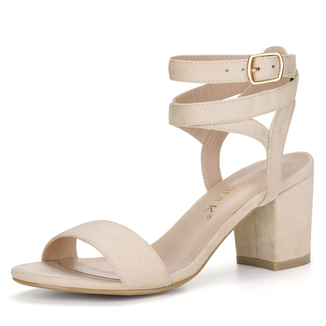 Allegra K Women's Block Heels Double Ankle Straps Sandals BeigeUS 9