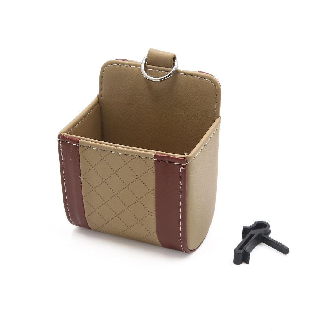 Universal Brown Beige Faux Leather Car Air Vent Pocket Storage Pouch with Hook