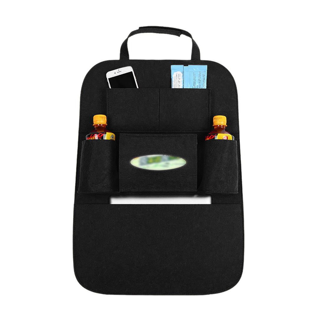 Black Car Seat Back Multifunctional Storage Bag Organizer Holder 55 x 41cm