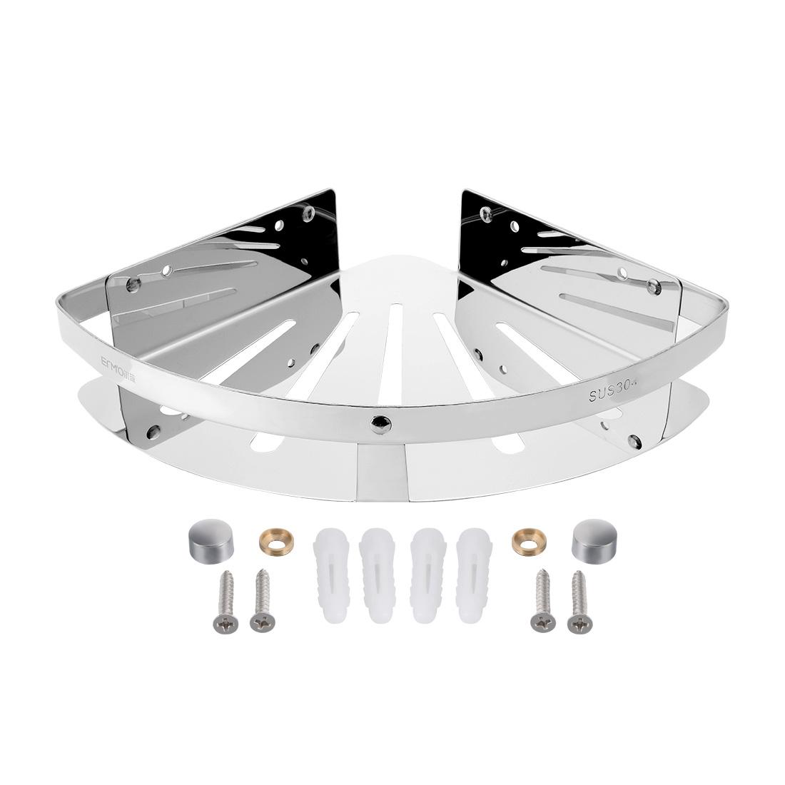 11.4-inch x 9.1-inch 304 Stainless Steel Polished Corner Bathroom Shower Basket