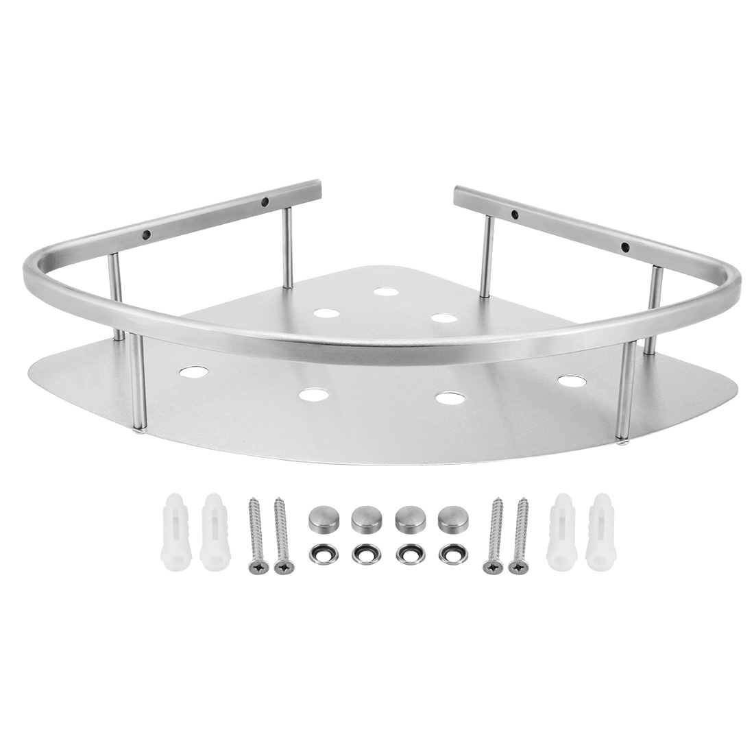 11.4-inch x 8.8-inch 304 Stainless Steel Wall Mount Bathroom Shower Corner Caddy Basket Brushed Finish