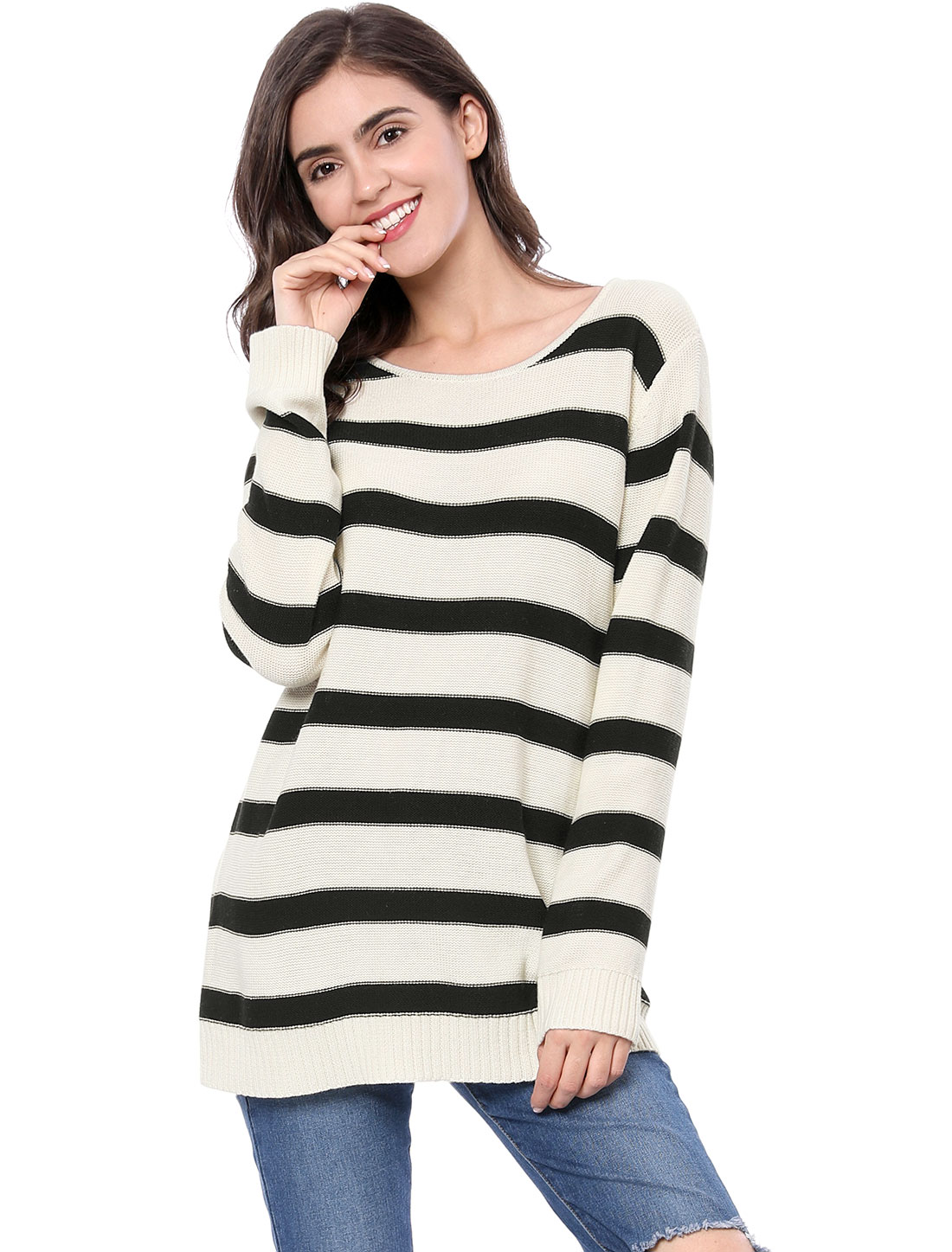 Allegra K Women Long Sleeves Drop Shoulder Loose Striped Sweater White L