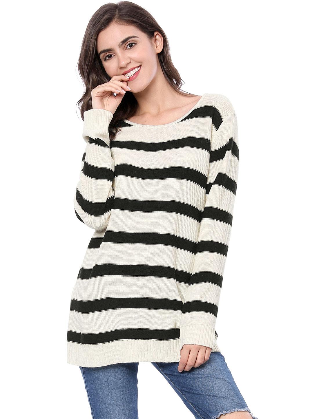 Allegra K Women Long Sleeves Drop Shoulder Loose Striped Sweater White XL