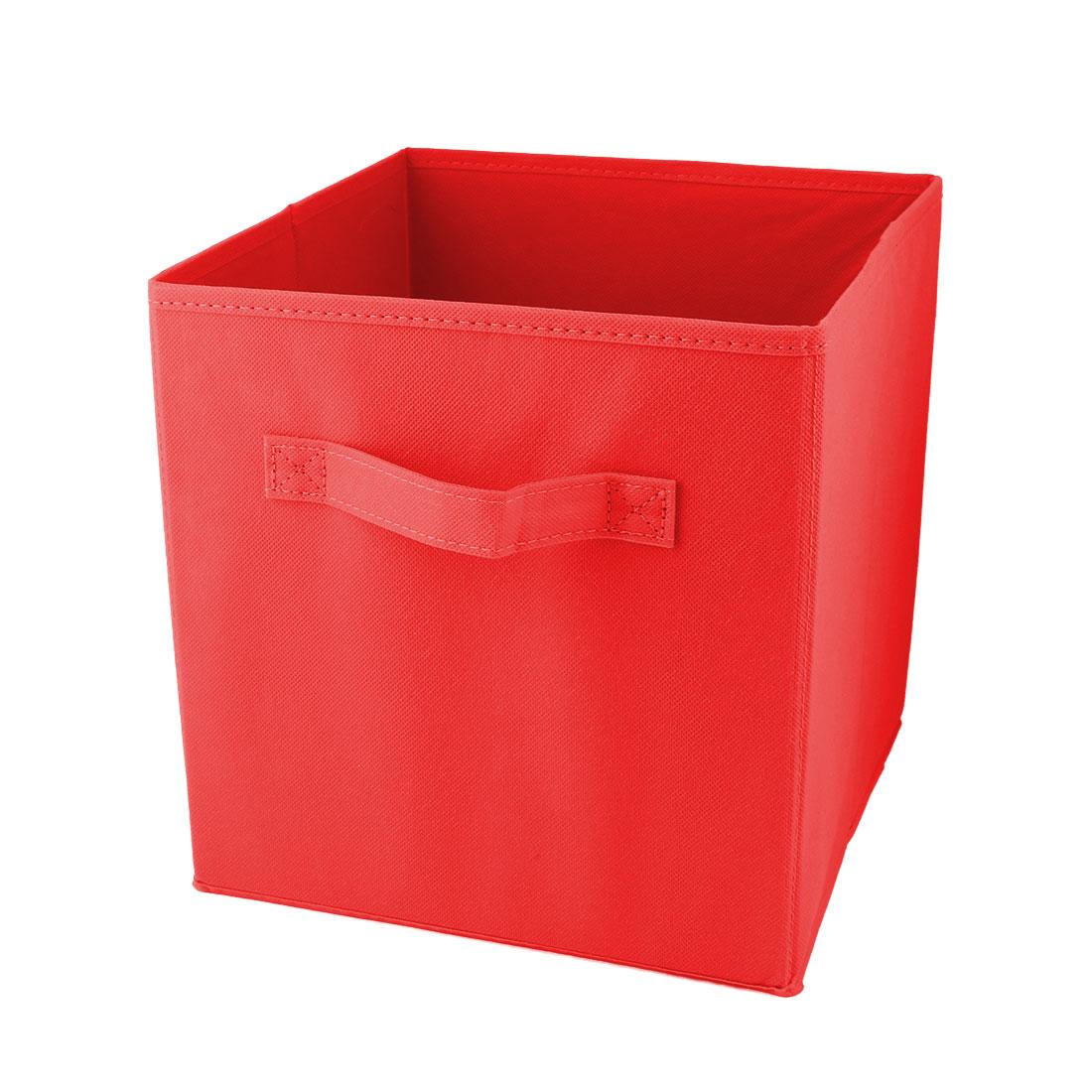 Apartment Non-woven Fabric Foldable Books Cosmetics Holder Storage Box Red
