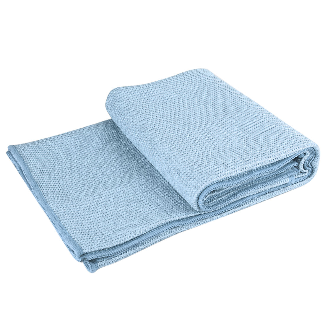Microfiber Non Slip Hot Yoga Towels With Pockets, Sweat Absorbent, 72 X 25 inch, Light Blue