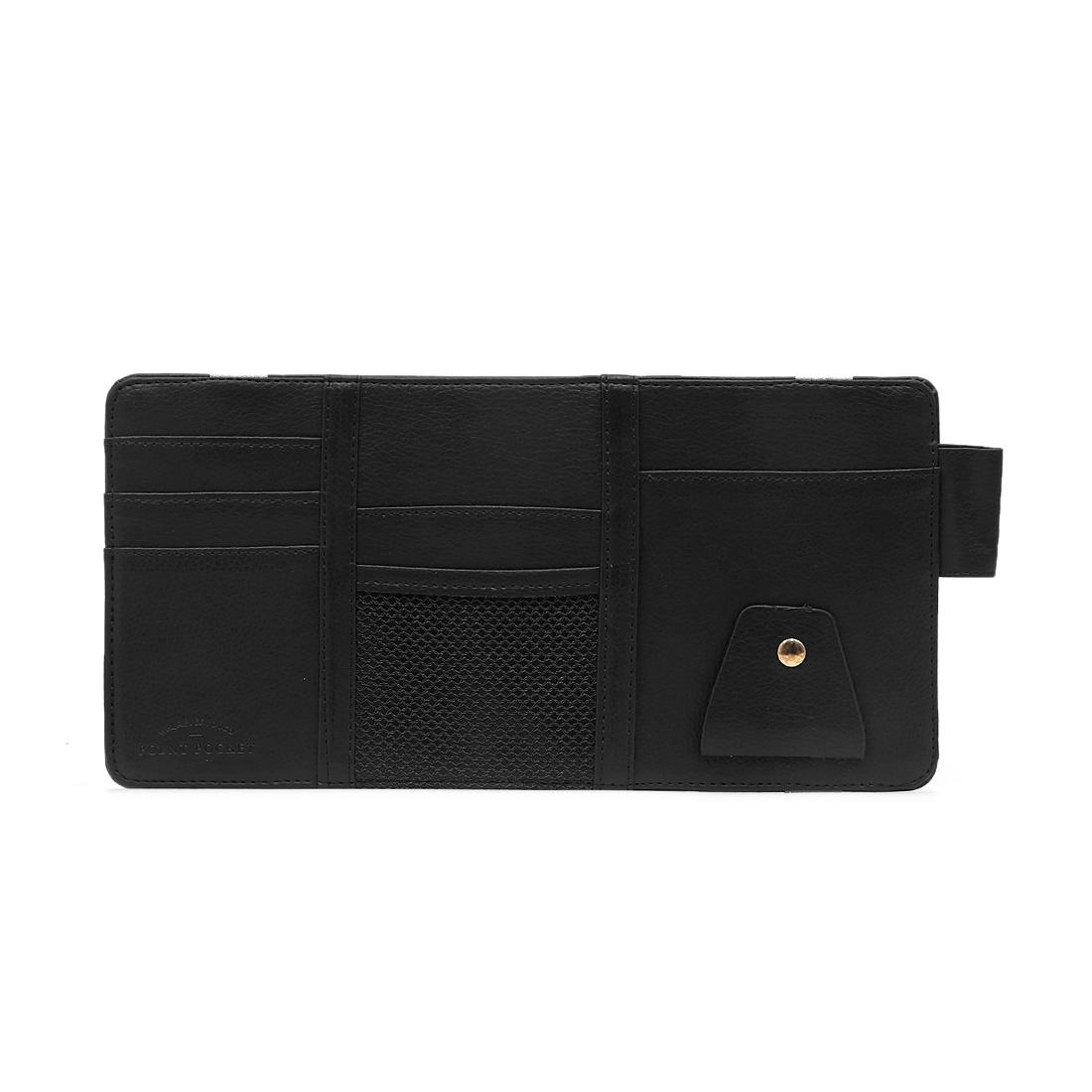 Black Faux Leather Car Sun Visor Card Holder Multi-purpose Storage Bag Organizer