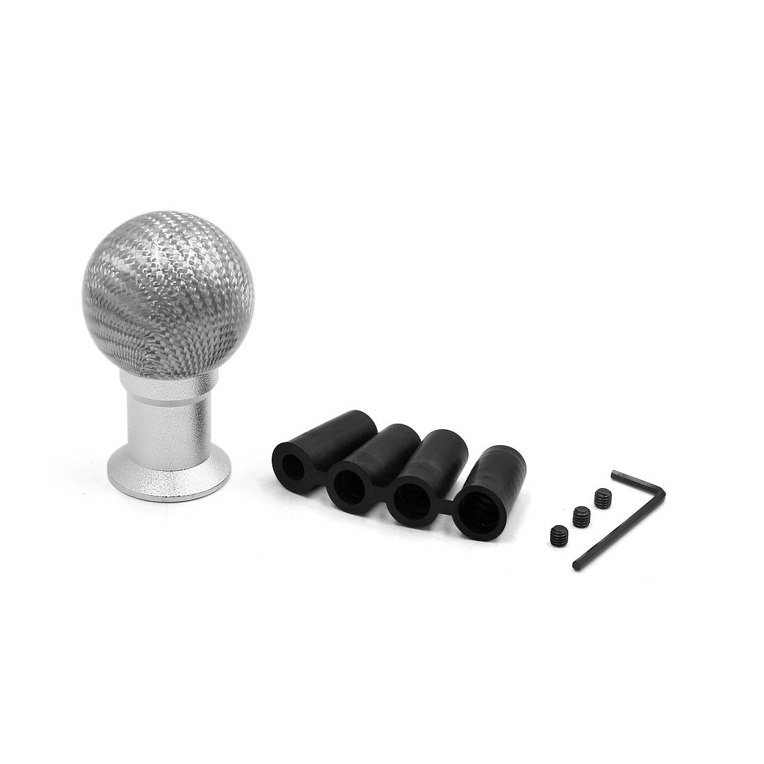 Silver Tone Carbon Fiber Pattern Car Manual Gear Shift Shifter Knob w 4 Adapter