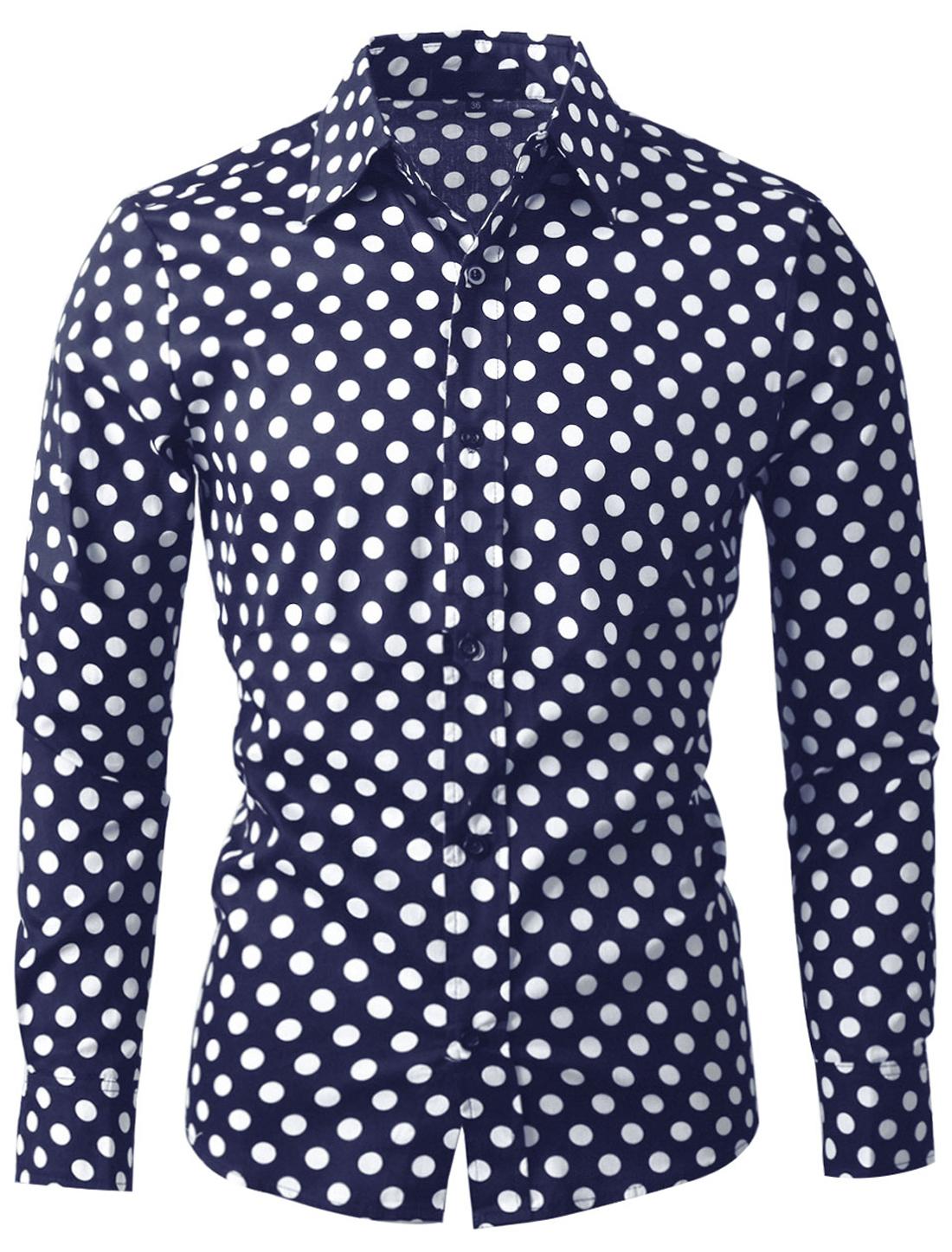 Men 100% Cotton Polka Dots Long Sleeve Slim Fit Dress Shirt Navy Blue 34