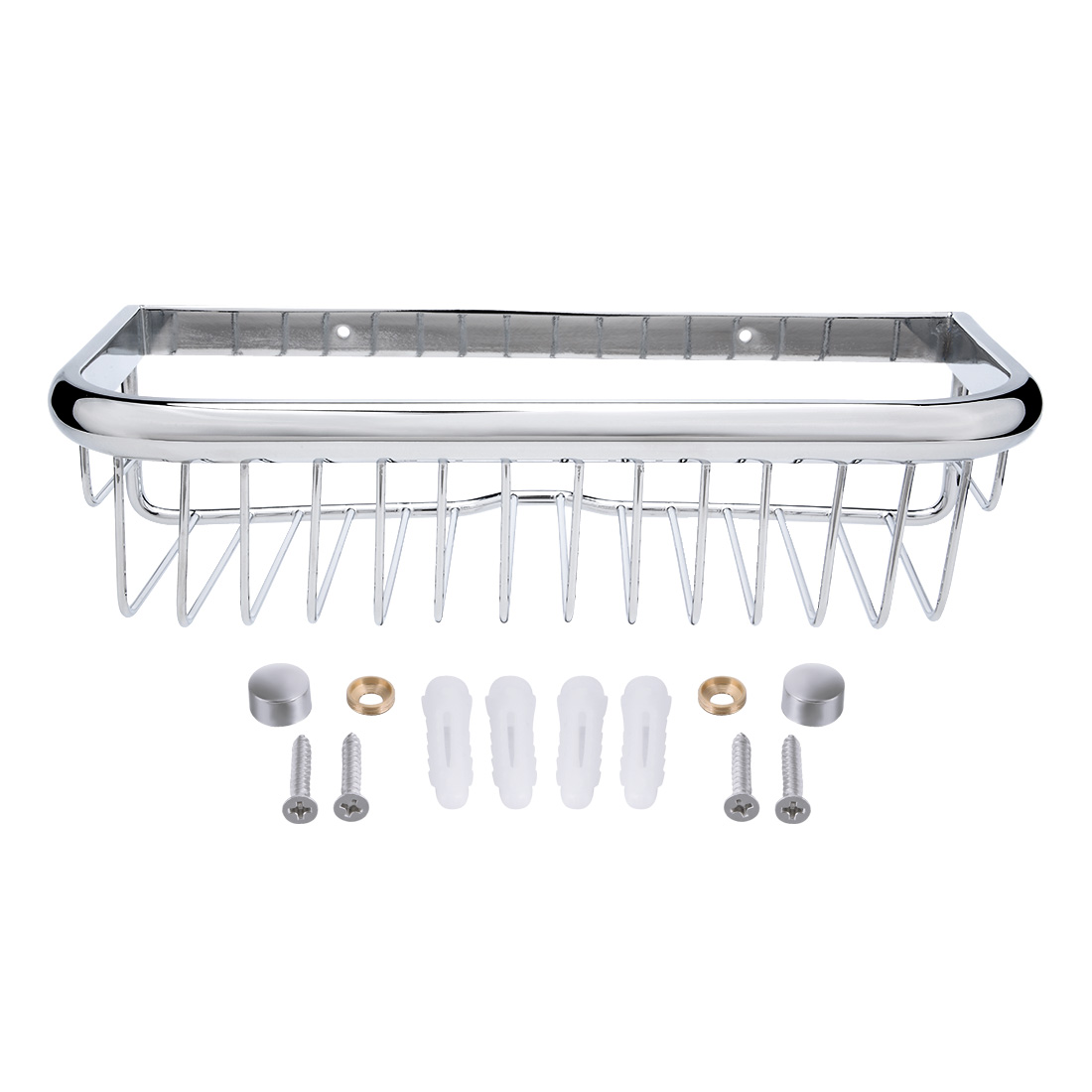 12-inch Length Brass Rectangle Shape Bathroom Shower Caddy Basket Silver Tone