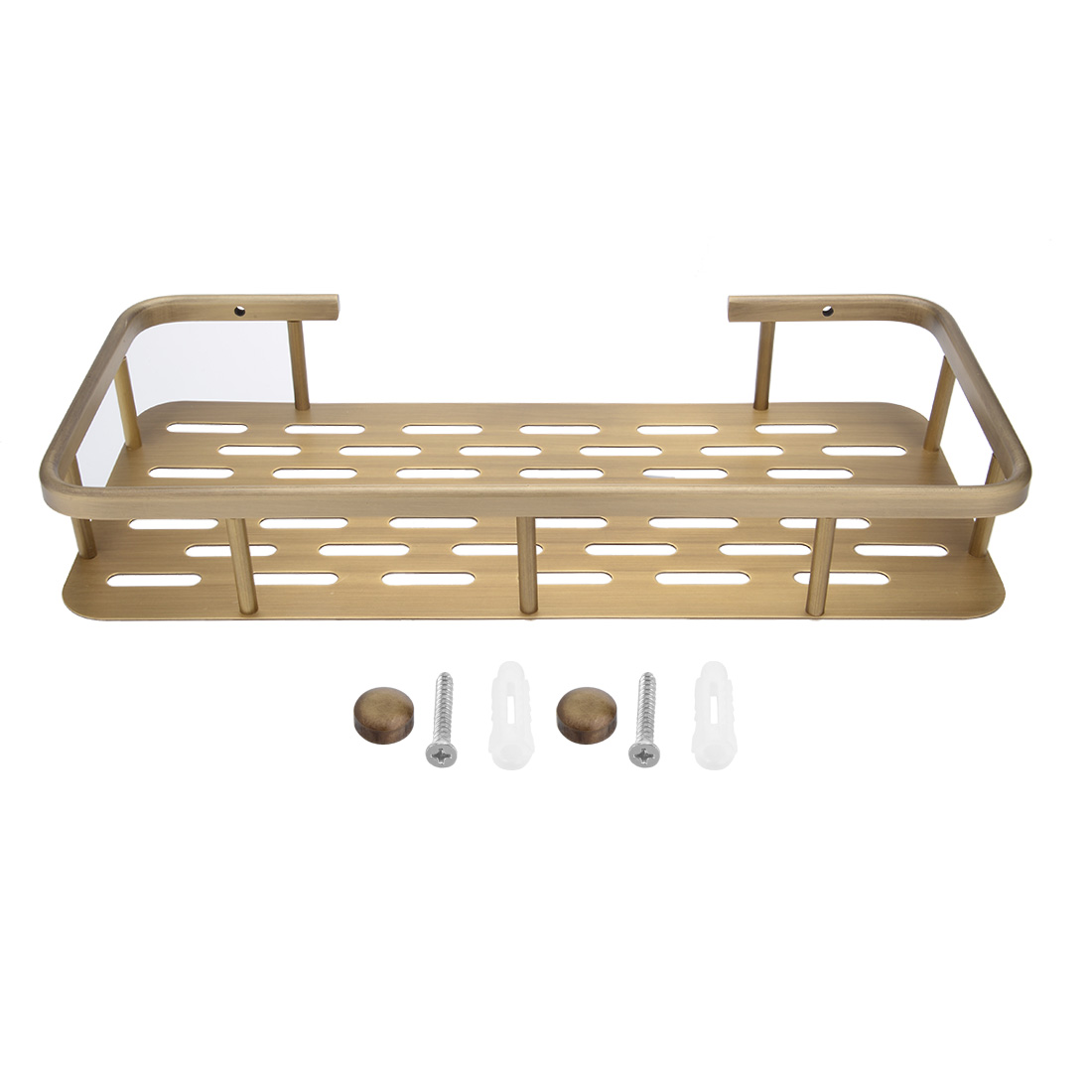 12-inch Brass Brushed Finish Bathroom Shower Caddy Basket Bronze Tone