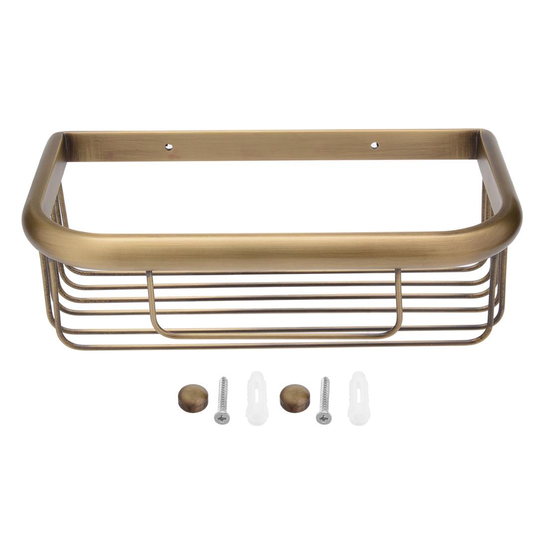 10-inch Brass Wall Mount Rectangle Shape Bathroom Shower Basket Bronze Tone