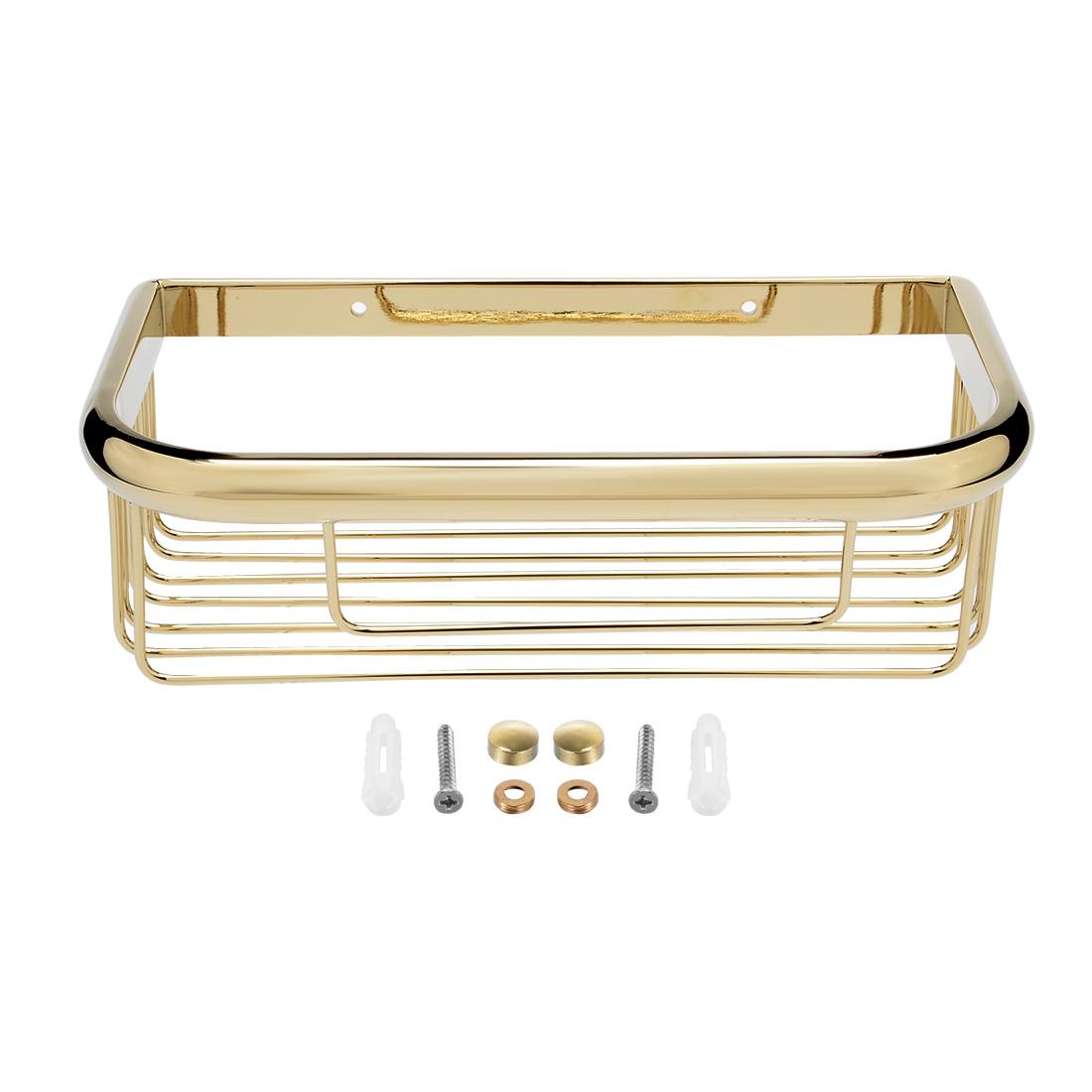 10-inch Brass Wall Mount Rectangle Shape Bathroom Shower Caddy Basket Gold Tone