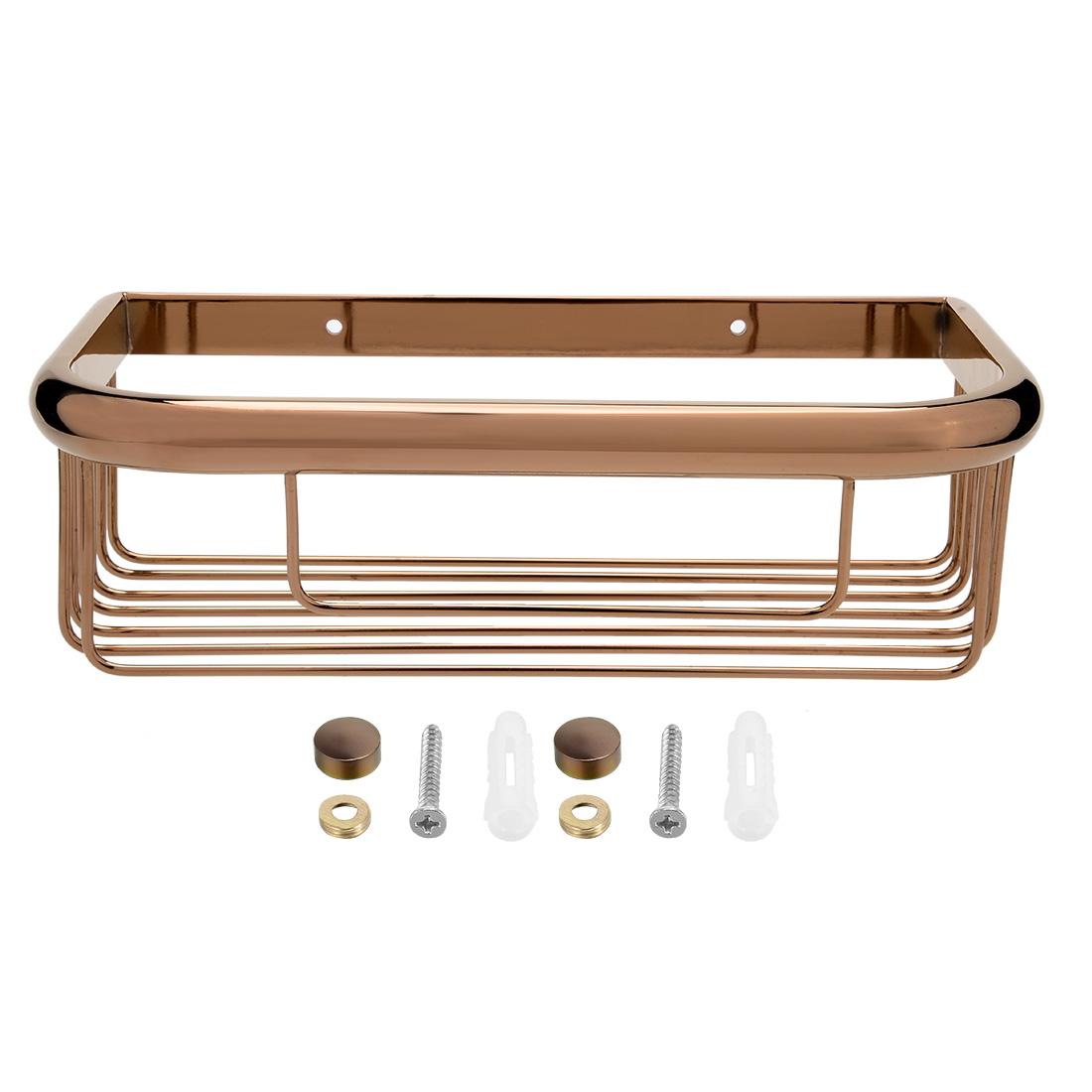 10-inch Brass Wall Mount Rectangle Shape Bathroom Shower Basket Caddy Rose Gold