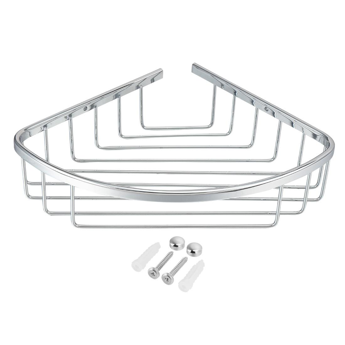 10.3-inch x 7.6-inch Brass Bathroom Basket Shower Caddy Corner Shelf Storage