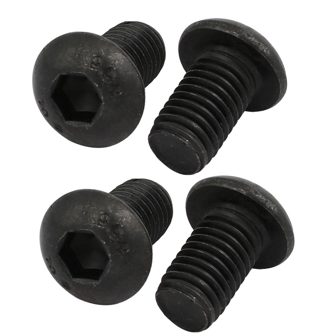 4pcs M12x20mm 10.9 Grade Button Head Hex Socket Left Hand Thread Screw Bolt