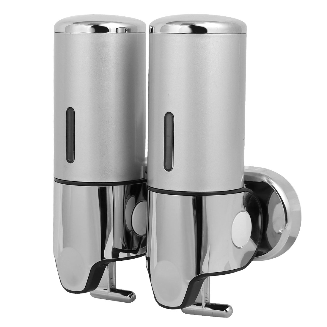 ABS Wall Mount Double Chember Soap Dispenser Silver Tone, 17 oz Each Capacity