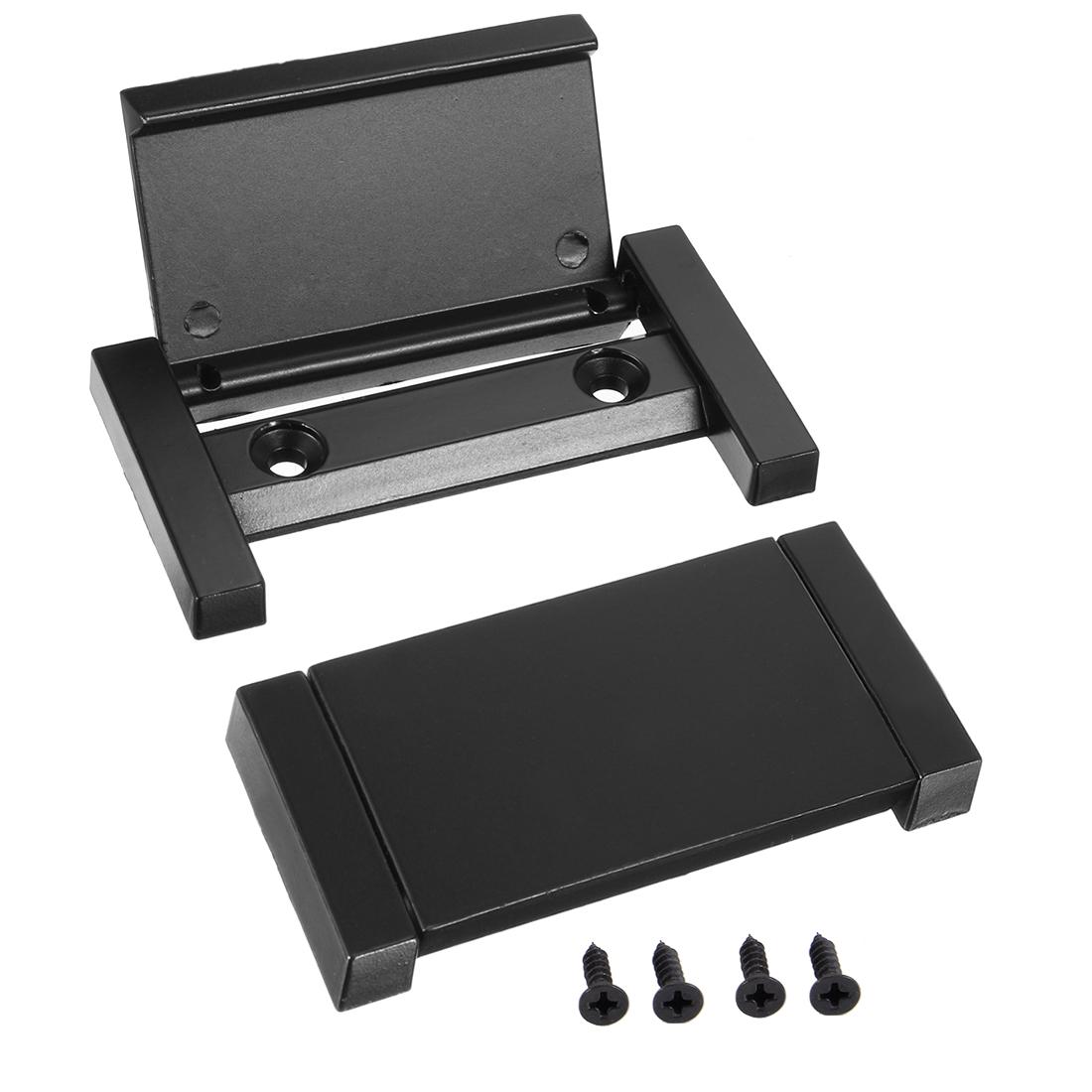 Cupboard Zinc Alloy Pull Handle 2-1/2 Inch Hole Centers Flat Black 2pcs