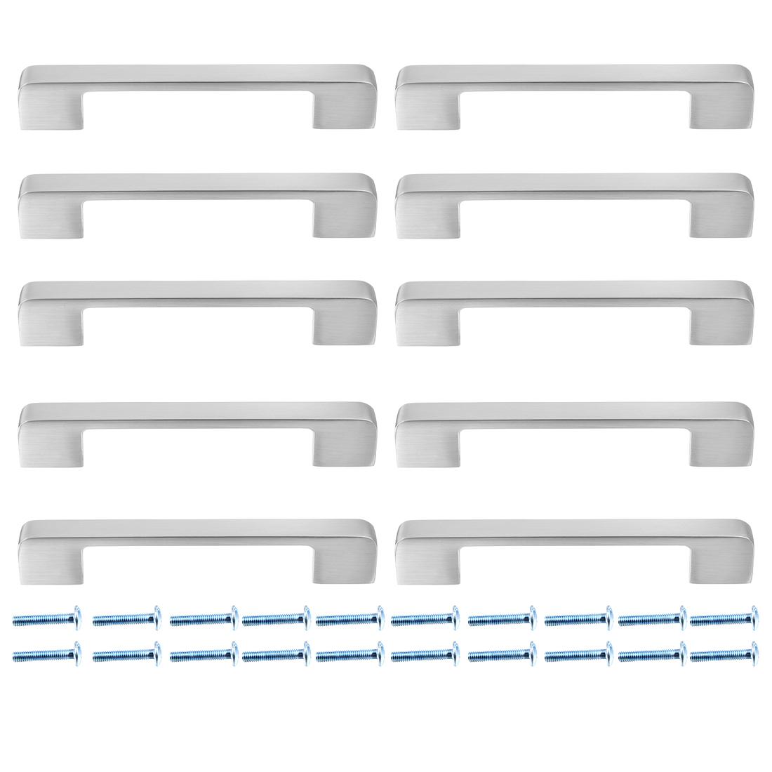 Cabinet Zinc Alloy Pull Handle 5 Inch Hole Centers Brushed Finish 10pcs