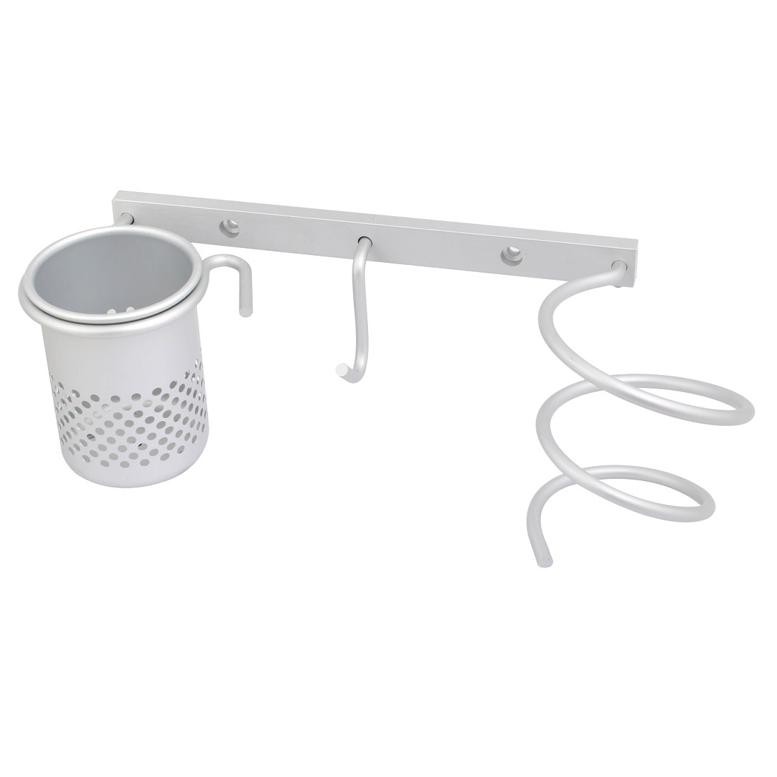 Aluminum Wall Mount Spring Style Hair Dryer Holder Storage Rack Set Silver Tone