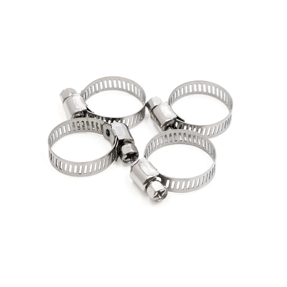 4pcs Silver Tone Stainless Steel Adjustable Worm Gear Hose Clamp 16-25mm for Car