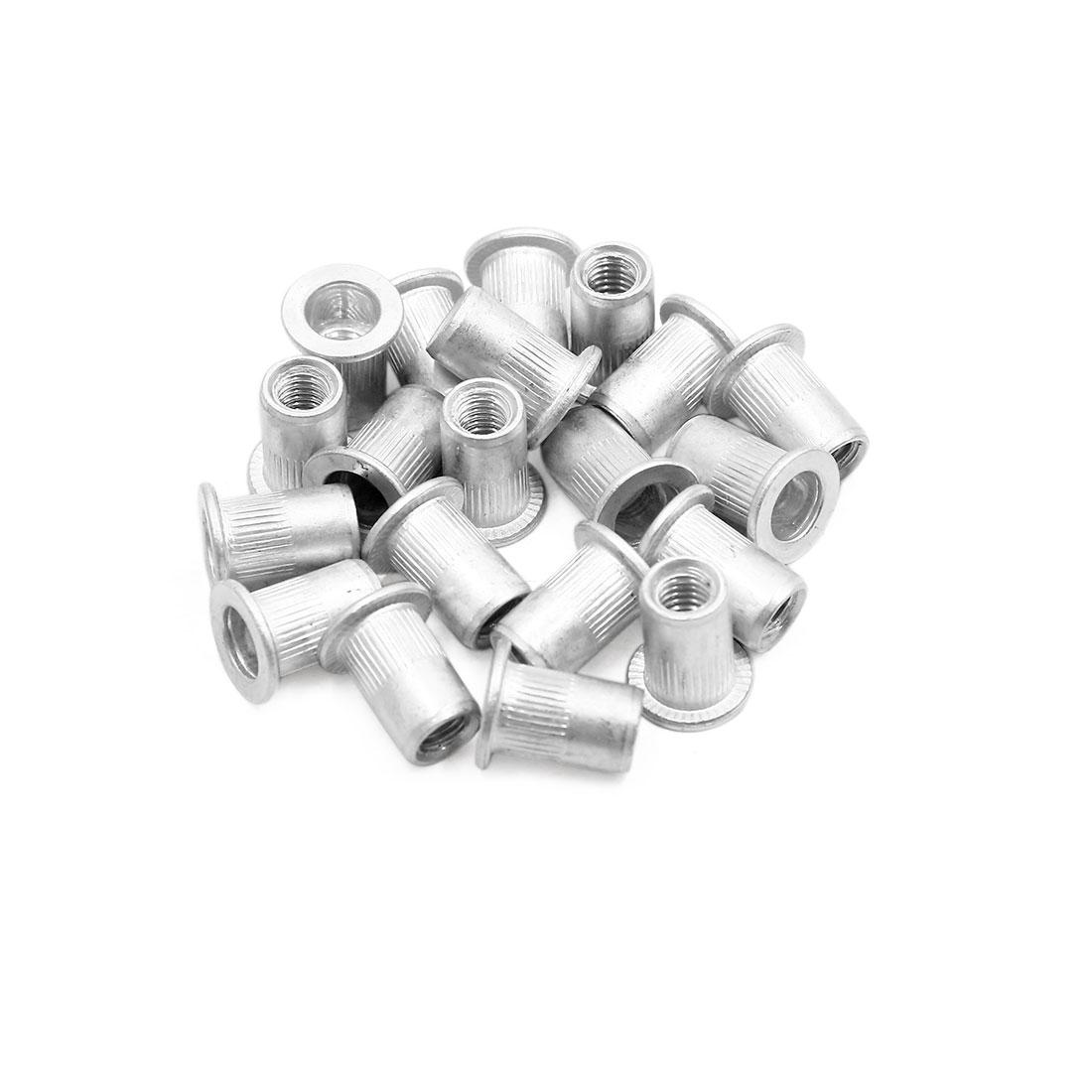 20pcs M6 Silver Tone Flat Head Rivet Nut Insert for Car Vehicle