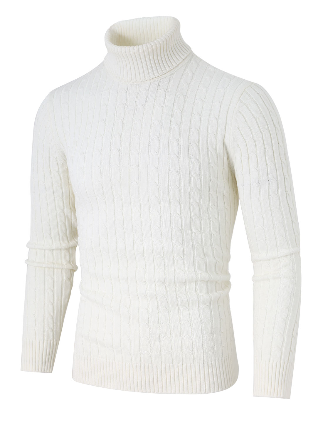 Men Turtleneck Long Sleeves Pullover Cable Knitted Sweater White XL (US 46)