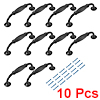 Cabinet Zinc Alloy Pull Handle 3-3/4 Inch Hole Centers Flat Black 10pcs