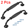 Cabinet Zinc Alloy Pull Handle 5 Inch Hole Centers Flat Black 2pcs