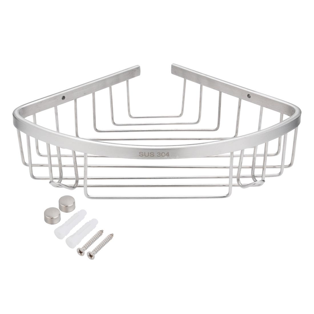 304 Stainless Steel 10.2-inch Corner Mount Bathroom Shower Basket Brushed Finish