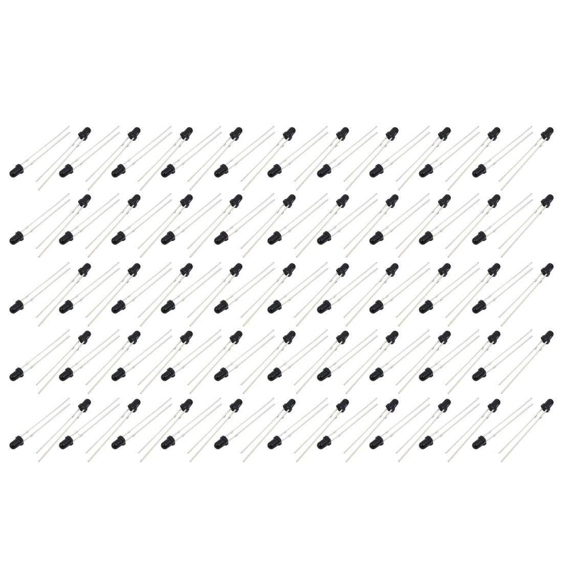 100 Pcs 5V 3mm Round Head Infrared Receiver Photodiodes IR Diode Black