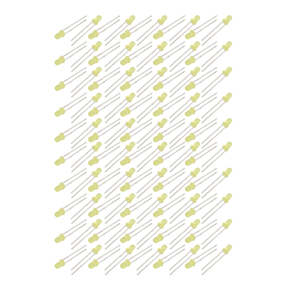 100 Pcs DC 1.9-2.2V 20mA Bright LED Lamps 3mm Dia. Yellow Light Emitting Diodes