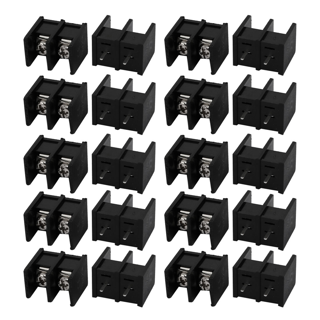 20 Pcs 300V 25A 2 Positions 10mm Pin Pitch Pluggable Terminal Block Black