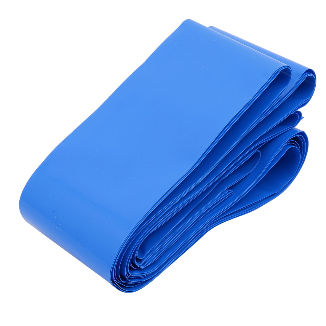 70mm Flat Width 5M 16.5Ft Length PVC Sleeving Tube Blue for 4 x 18650 Batteries