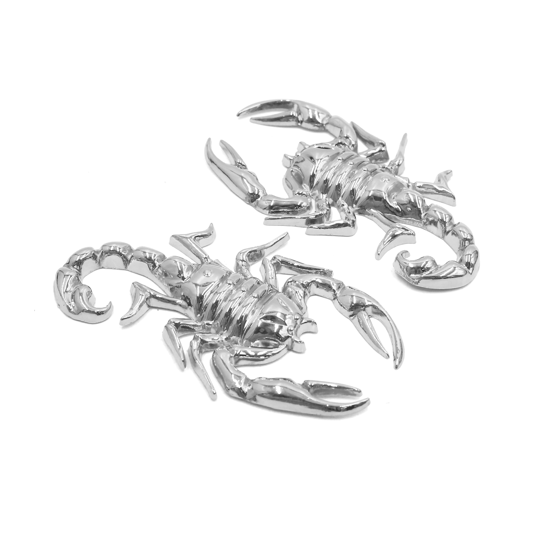 2Pcs Silver Tone Scorpion Design Car Exterior Reflective 3D Sticker Decor