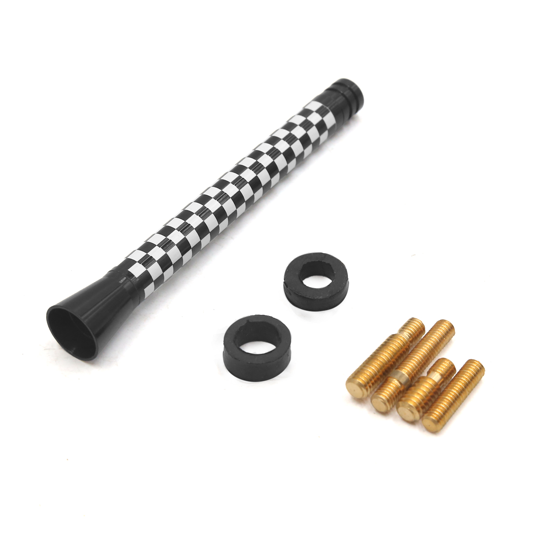 Black Lattice Pattern Screw-on Car Decorative Antenna Aerial 10.5cm Length