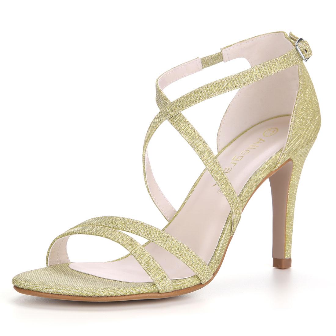 Allegra K Women's Glitter Design Stiletto Heel Strappy Sandals Gold US 6